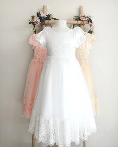 Eleonor christening dress with sleeves decorated with lace front view Ana Balahan