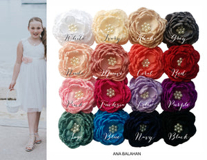 Ranunculus flower sash and headpiece color chart