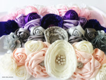 Load image into Gallery viewer, Ivory and pale pink, grey, purple, pink and white color set of headpieces and sashes