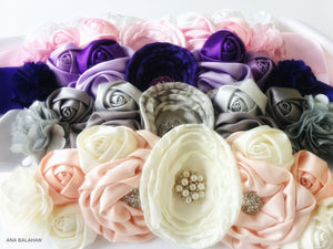 Ivory and pale pink, grey, purple, pink and white color set of headpieces and sashes