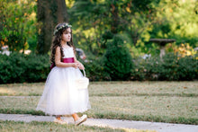 Load image into Gallery viewer, Flower girl in Adelina white color dress with wave edge and wine color sash Ana Balahan