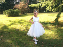 Load image into Gallery viewer, Girl in Adelina flower girl dress with rhinestone applique sash and headpiece set