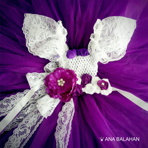 Closer look at a Jacaranda tutu dress and a flower belt