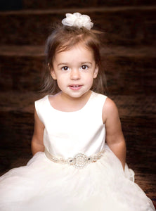 Junior bridesmaid wearing Adelina flower girl dress and rhinestone belt