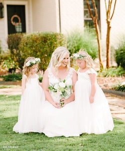 Bride with two little girls in Annabelle flower girl dresses
