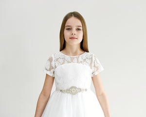 Libby offwhite medium length tween girl dress Ana Balahan