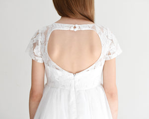 Libby offwhite tea length girl dress with heart on the back close back view Ana Balahan
