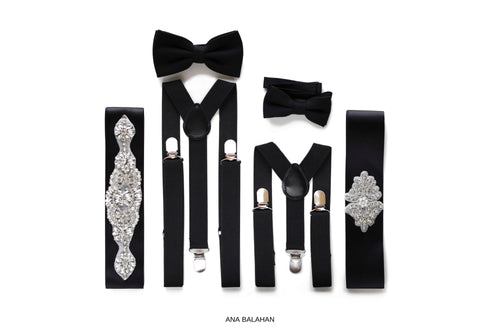 Black matching accessories set page boy bow tie groomsmen suspenders flower girl belt bridesmaids rhinestone applique sash