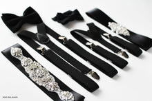 Load image into Gallery viewer, Black matching accessories set page boy bow tie groomsmen suspenders flower girl belt bridesmaids rhinestone applique sash