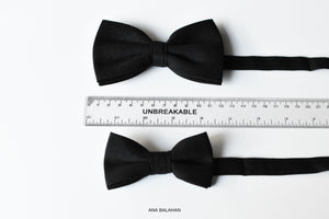 Black color matching accessories groomsmen page boy bow tie
