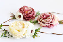 Load image into Gallery viewer, PEONY sash, Mauve head piece, Ivory bracelet, Flower decoration, Bridesmaid ornamentation, Wedding head adornment, Bridal headband