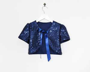 Navy color sequin bolero front view tied Ana Balahan