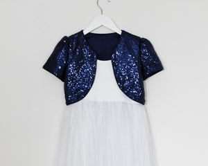 Navy color sequin bolero with white dress front view Ana Balahan