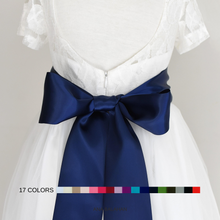 Load image into Gallery viewer, Off white color flower girl dress with the 8 cm navy color satin sash back view