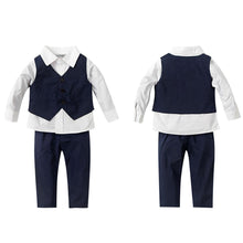 Load image into Gallery viewer, Fashion formal boy set long sleeved shirt vest and trousers with stretchable waist