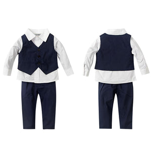 Fashion formal boy set long sleeved shirt vest and trousers with stretchable waist
