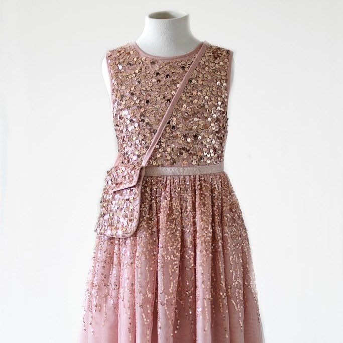 Ninel Blush color girl frock decorated with rose gold seqiuns with cross body bag
