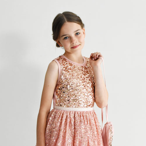 Ninel dusty pink cute sequined baby dress with crossbody bag Ana Balahan