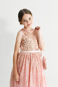 Ninel dusty pink cute sequined dress with crossbody bag Ana Balahan