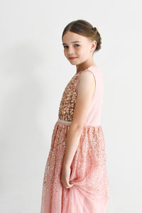 Ninel dusty pink cute sequined dress with small cross body bag Ana Balahan