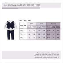 Load image into Gallery viewer, Fashion formal boy set long sleeved shirt vest and trousers with stretchable waist size chart