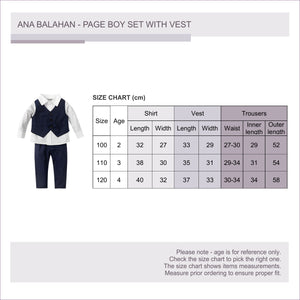 Fashion formal boy set long sleeved shirt vest and trousers with stretchable waist size chart