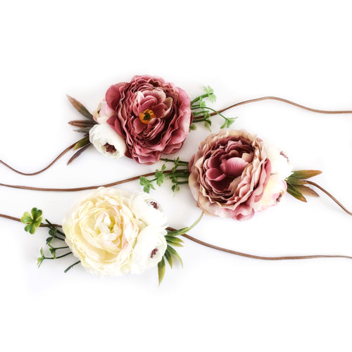 Peony headband ivory and mauve colors