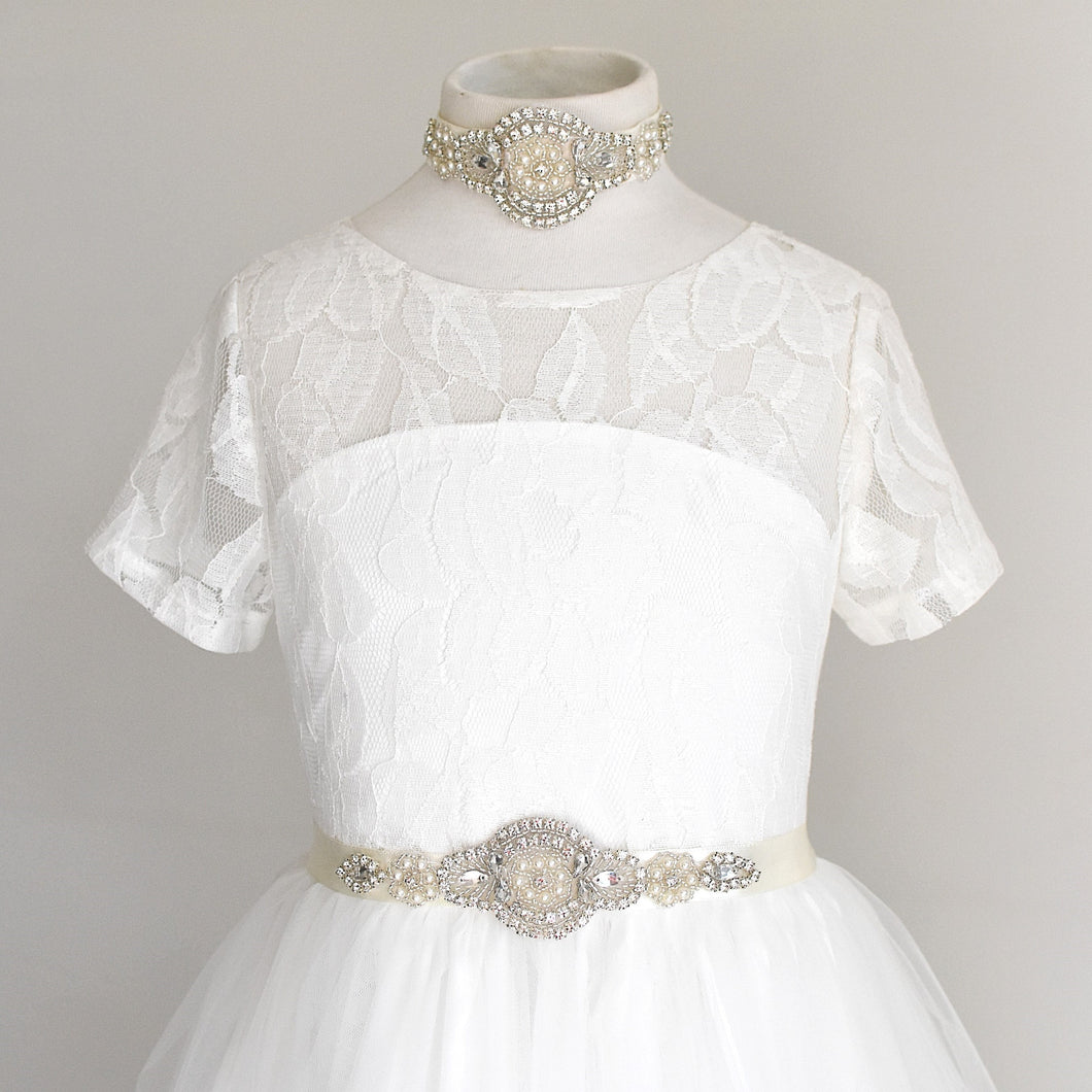 Rhinestone applique bridal belt and headpiece