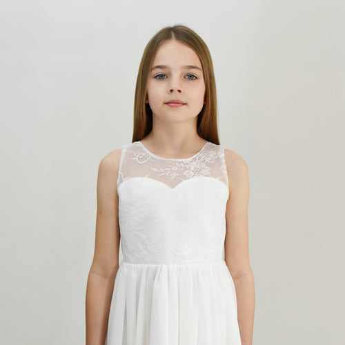 Roselle midi length lace flower girl dress with V-neck in bridal ivory color Ana Balahan