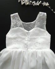 Load image into Gallery viewer, Roselle off white lace teen flower girl dress back view Ana Balahan