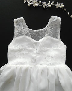 Roselle off white lace teen flower girl dress back view Ana Balahan