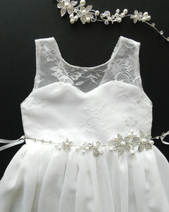 Roselle off white lace teen flower girl dress front view Ana Balahan