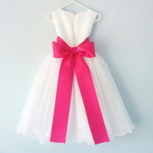White color flower girl dress with the 8 cm azalea color satin sash back view