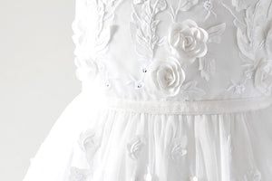 Tatyana Off white dress with 3D flowers front close view Ana Balahan