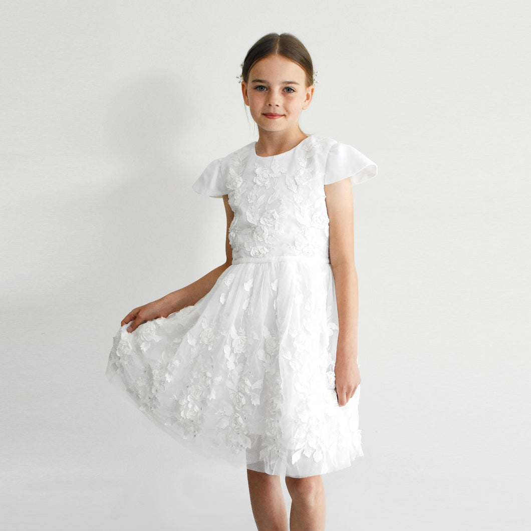 Tatyana first communion church dress with short sleeves decorated with 3D flowers Ana Balahan