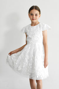 Tatyana first communion church dress with short sleeves decorated with flowers Ana Balahan