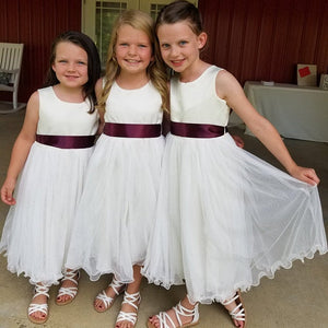 Three girls in ivory color dresses with wine satin sash Ana Balahan