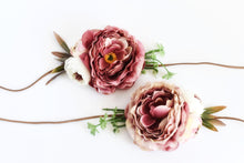 Load image into Gallery viewer, PEONY sash, Mauve head piece, Flower decoration, Bridesmaid ornamentation, Wedding head adornment, Bridal headband