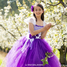 Load image into Gallery viewer, Girl in Jacaranda blossom puff tutu dress at sunny day in bloomin spring garden