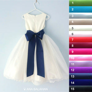 Ana Balahan flower girl dress with the 8 cm satin sash back view