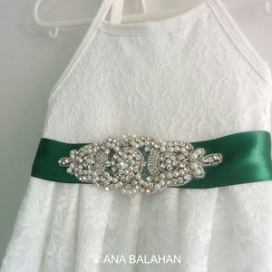 Florence lace girl dress with an emerald green color satin sash with a rhinestone applique belt