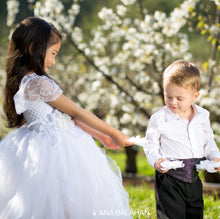 Load image into Gallery viewer, Boy and girl in smart occasional cloth are watching a flower