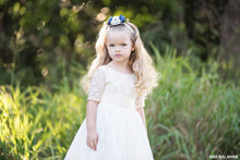 Load image into Gallery viewer, A pretty girl in Sofia flower girl dress by Ana Balahan in a park