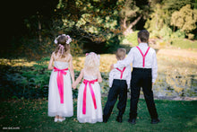 Load image into Gallery viewer, Kids wearing special ocassion wear and set of wedding accessories suspenders page boy bow ties flower girl sashes and headpieces