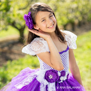Lovely girl wearing Jacaranda blossom tutu dress