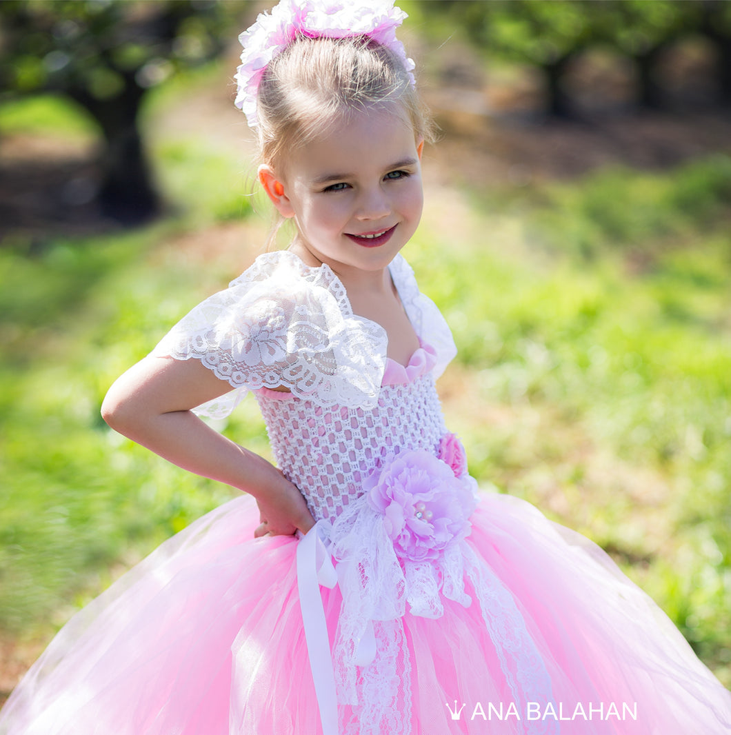 Pretty girl in pink Cherry blossom tutu dress