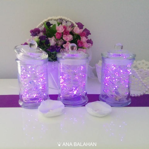 LED lights in three stylish jars create wonderful atmosphere