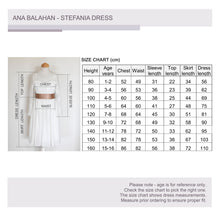 Load image into Gallery viewer, Stefania flower girl dress size chart