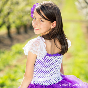 Jacaranda blossom	purple tutu dress back view