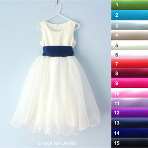 Ana Balahan flower girl dress with the 8 cm satin sash front view